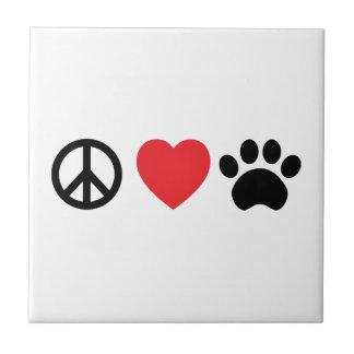 Carreau de céramique de patte d'amour de paix