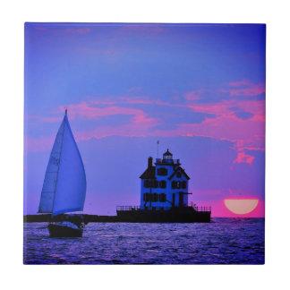 Carreau de céramique de voile de coucher du soleil