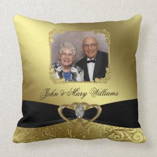 Carreau de photo d'anniversaire de mariage d'or coussin
