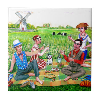 Carreau Déjeuner d'été pendant les années 1920 Jamestown,