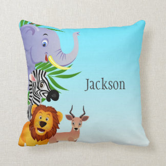 Carreau d'enfants d'animaux de jungle coussin