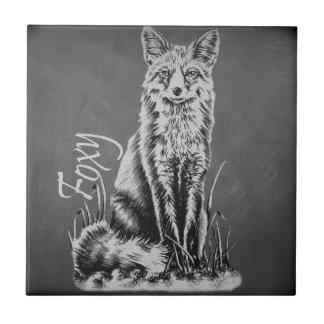 Carreau Dessin de craie de l'art animal de Fox sur le