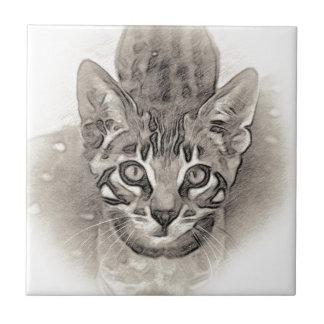 Carreau Dessin mignon de chaton du Bengale
