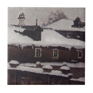 Carreau Dessus de toit en hiver par Vasily Surikov