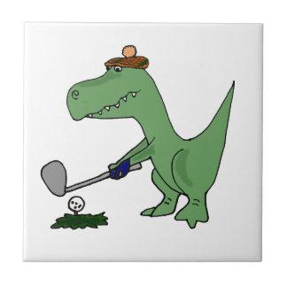 Carreau Dinosaure drôle de T-Rex jouant au golf