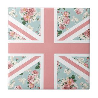 Carreau Drapeau anglais d'Union Jack de roses