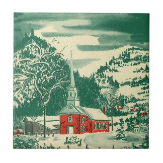 Carreau Église vintage de Noël, Snowscape en hiver