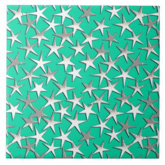 Carreau Étoiles d'argent sur la turquoise
