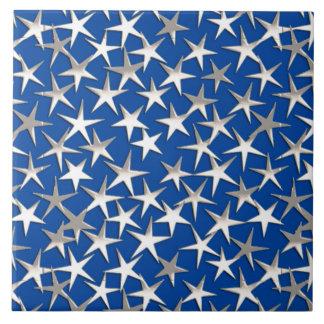 Carreau Étoiles d'argent sur le bleu de cobalt