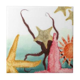 Carreau Étoiles de mer vivantes Octupus de vie marine