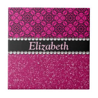 Carreau Fausses pierres roses et noires de scintillement