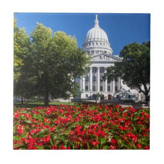Carreau Fleurs devant le bâtiment de capitol d'état