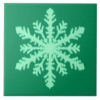 Carreau Flocon de neige d'Ikat - pin et vert en bon état