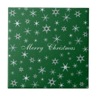 Carreau Flocons de neige de vert de Joyeux Noël