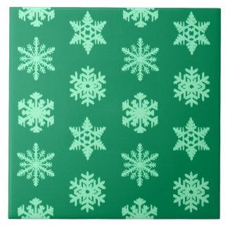 Carreau Flocons de neige d'Ikat - pin et vert en bon état