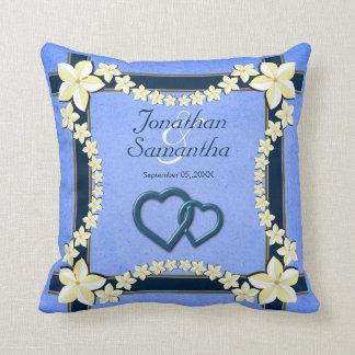 Carreau floral bleu rustique de carré de mariage oreillers