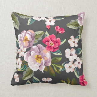 Carreau floral rose de PurpleVintage Coussin