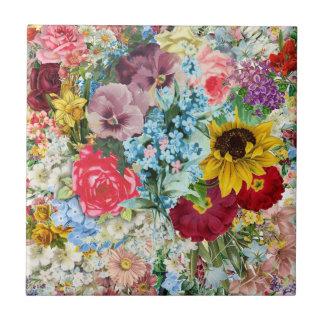 Carreau Floral vintage coloré