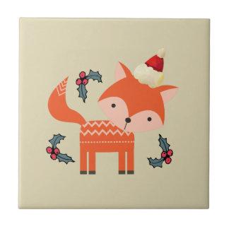 Carreau Fox orange dans Noël lunatique mignon de casquette