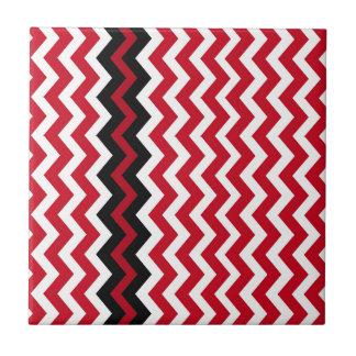Carreau Frontière noire de zigzag sur rouge et blanc