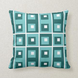 Carreau géométrique blanc turquoise bleu de motif coussin