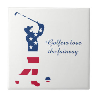 Carreau Golfeur de drapeau américain de golf des