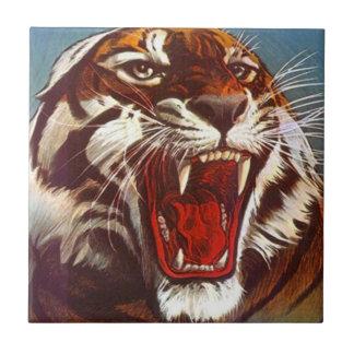 Carreau Grande tuile de cadeau de chat de tigre de rétro