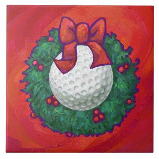 Carreau Guirlande de Noël de boule de golf sur le rouge