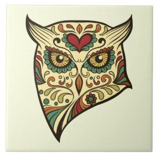 Carreau Hibou de crâne de sucre - conception de tatouage