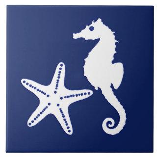 Carreau Hippocampe et étoiles de mer - bleu marine et