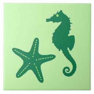 Carreau Hippocampe et étoiles de mer - chaux et vert vert