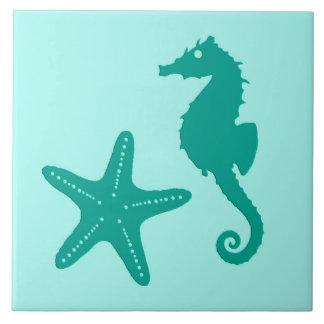 Carreau Hippocampe et étoiles de mer - turquoise et aqua