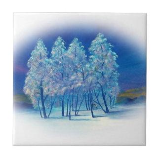 Carreau Illustration abstraite de forêt de sapins d'hiver