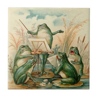 Carreau Illustration de cru d'orchestre de grenouille