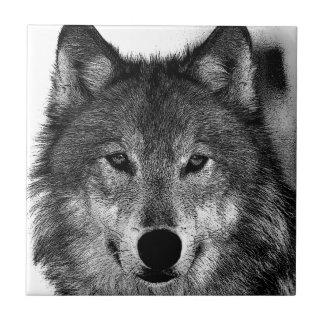 Carreau Illustration de loup noir et blanc