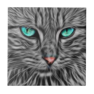 Carreau Illustration grise de chat de fractale