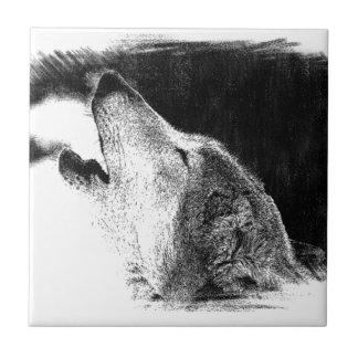 Carreau Illustration noire et blanche de croquis de loup