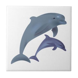 Carreau Illustration sautante de dauphins