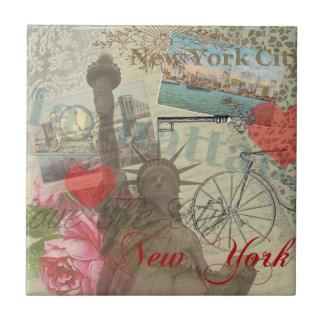 Carreau Illustration vintage de collage de New York City