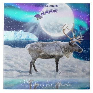Carreau Imaginaire arctique de Noël de renne et de père