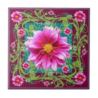 Carreau Imaginaire floral de jardin de dahlias Couleur