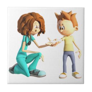 Carreau Infirmière et Little Boy de bande dessinée