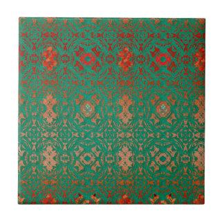 Carreau Jade de Bohème rustique et motif rouge