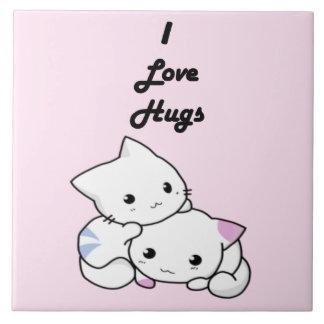 Carreau J'aime les chatons blancs mignons d'étreintes