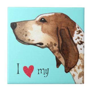 Carreau J'aime mon Coonhound de l'anglais américain
