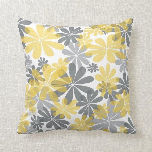 Carreau jaune et gris de fleur coussin zazzle - Coussin jaune et gris ...