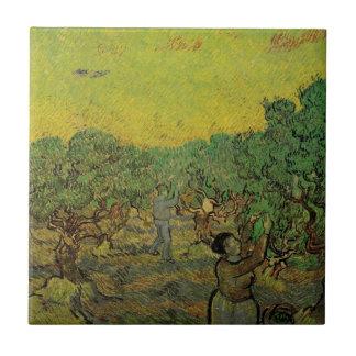 Carreau La cueillette du verger olive W de Van Gogh figure