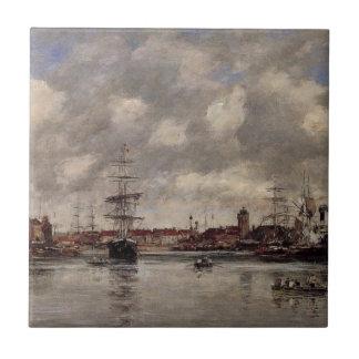Carreau Le bassin de Dunkerque, Hollande par Eugene Boudin