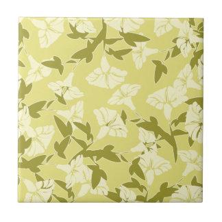 Carreau Le ressort jaune et blanc floral colore la tuile