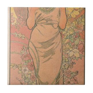 Carreau Le rose par Alphonse Mucha